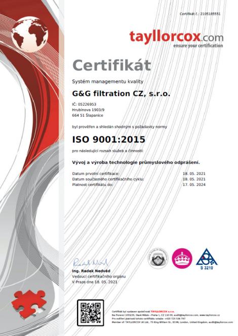 ISO 9001: 2015 Разработка и производство промышленной технологии обеспыливания.